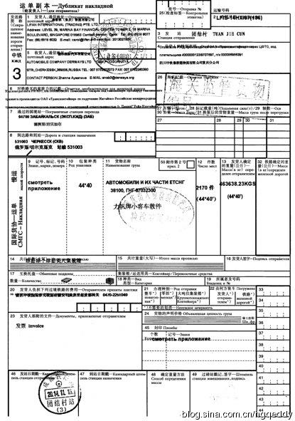 中欧班列渝满俄班列国联运单业务操作案例分析